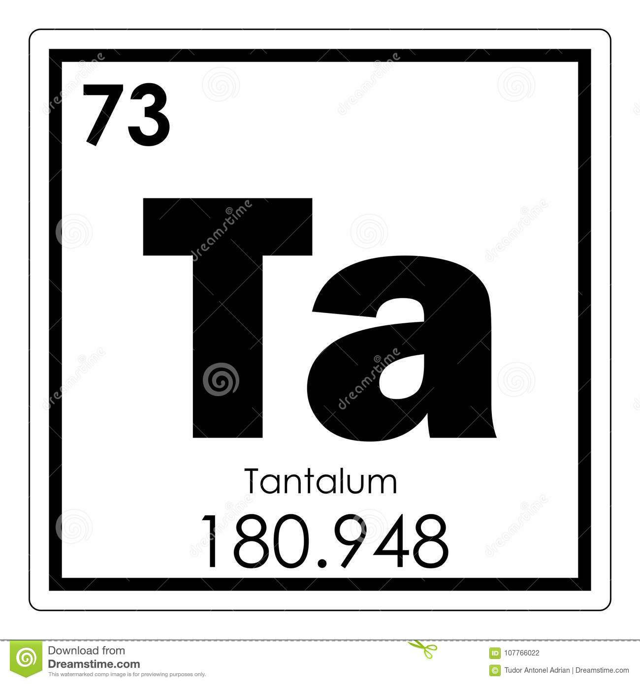 Tantalum Chemical Element Stock Illustration Illustration Of