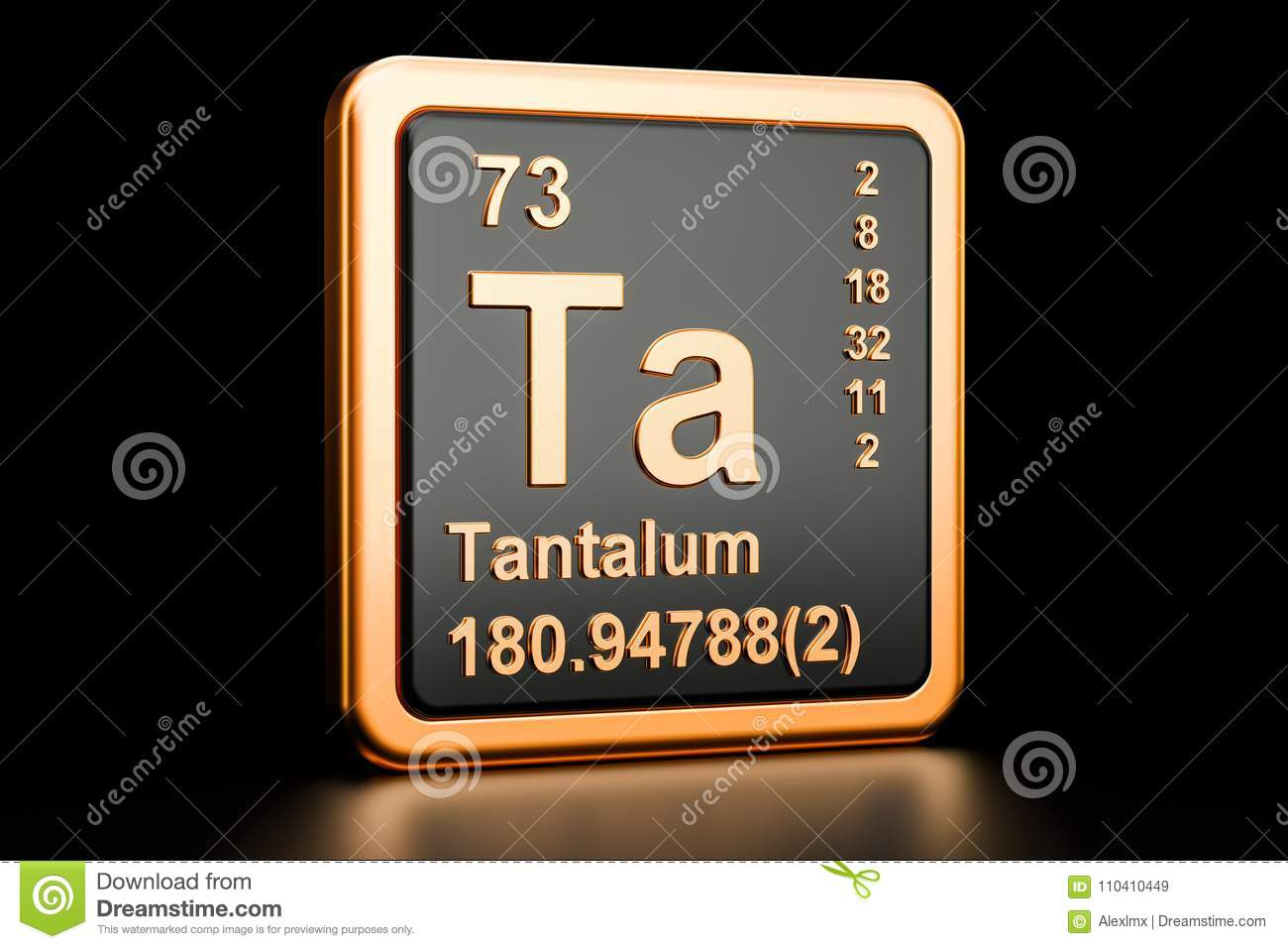 Tantalum Ta Chemical Element 3d Rendering Stock Illustration