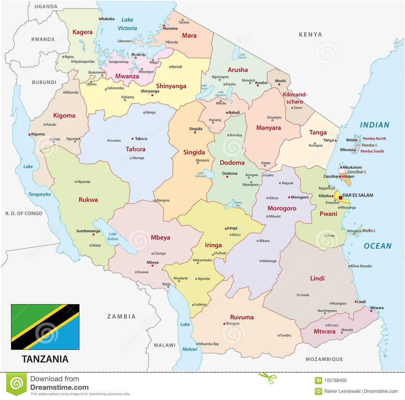 Picture of: Tanzania Administrative And Political Map With Flag Stock Vector Illustration Of National District 105788400