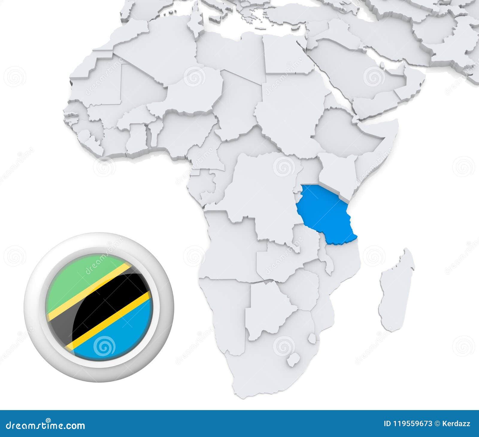 Image of: Tanzania On Africa Map Stock Illustration Illustration Of Basic 119559673