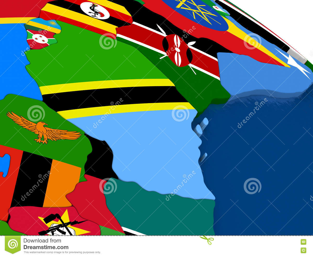 Picture of: Tanzania On 3d Map With Flags Stock Illustration Illustration Of Global Rendering 73328714