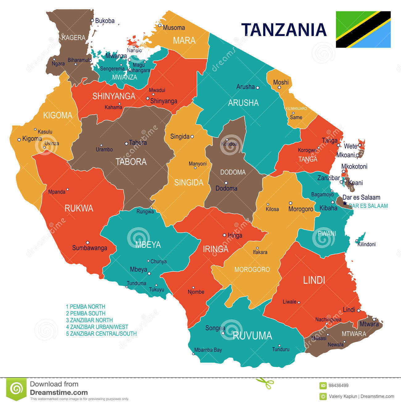 Tanzania - Map And Flag - Illustration Stock Illustration