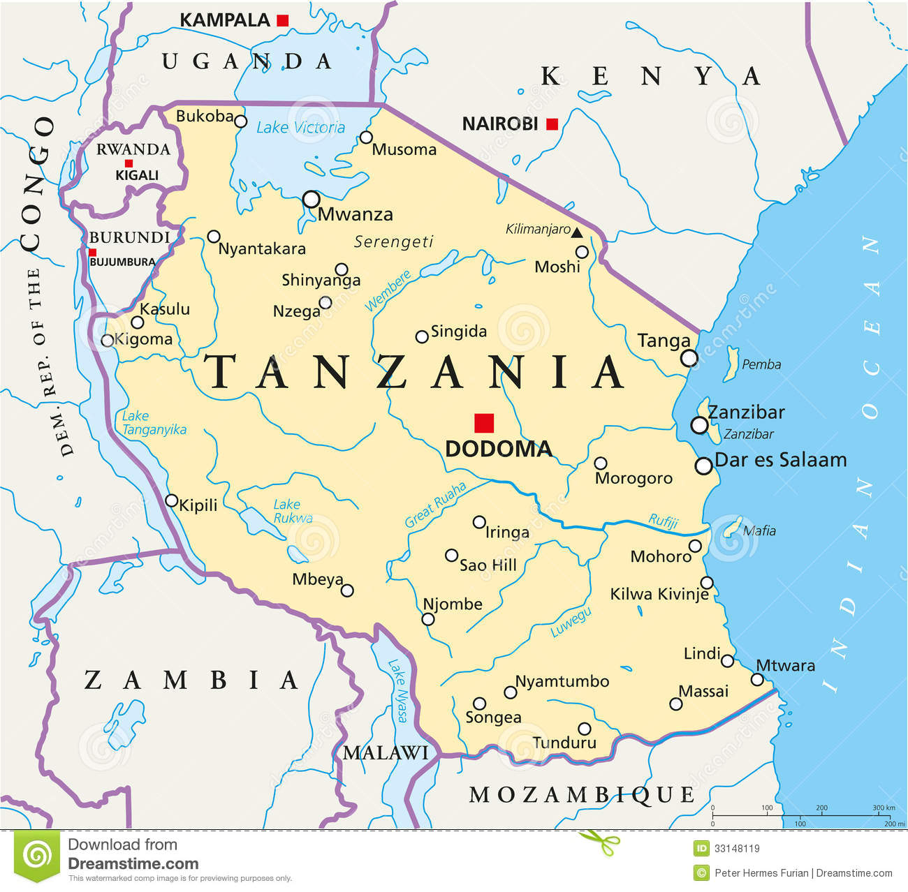 Tanzania Political Map Royalty Free Stock Images - Image: 33148119 Dodoma Map