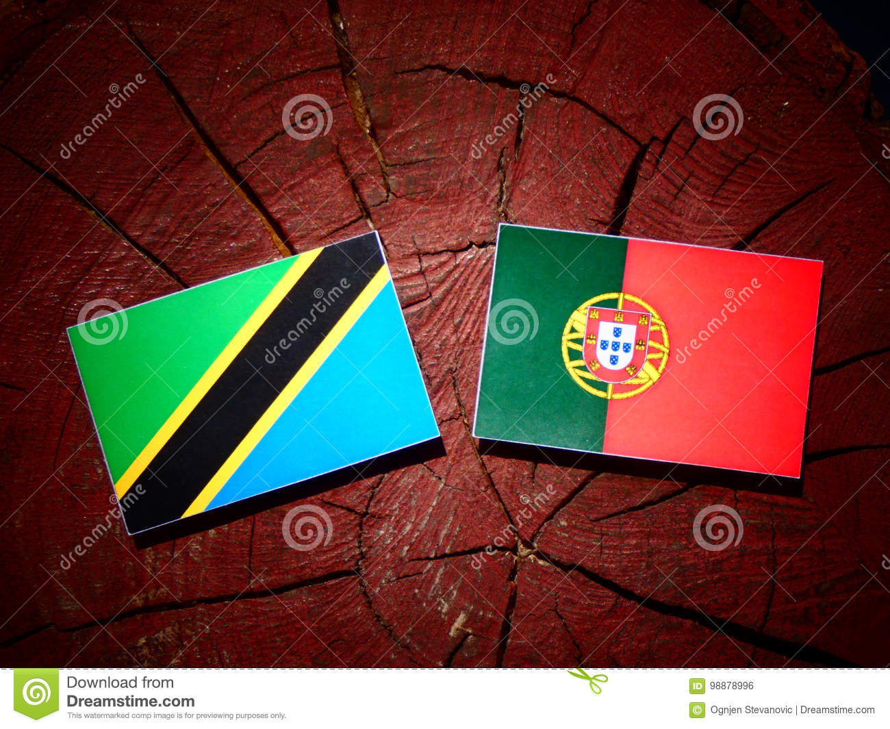 Tanzanian flag with Portuguese flag on a tree stump isolated