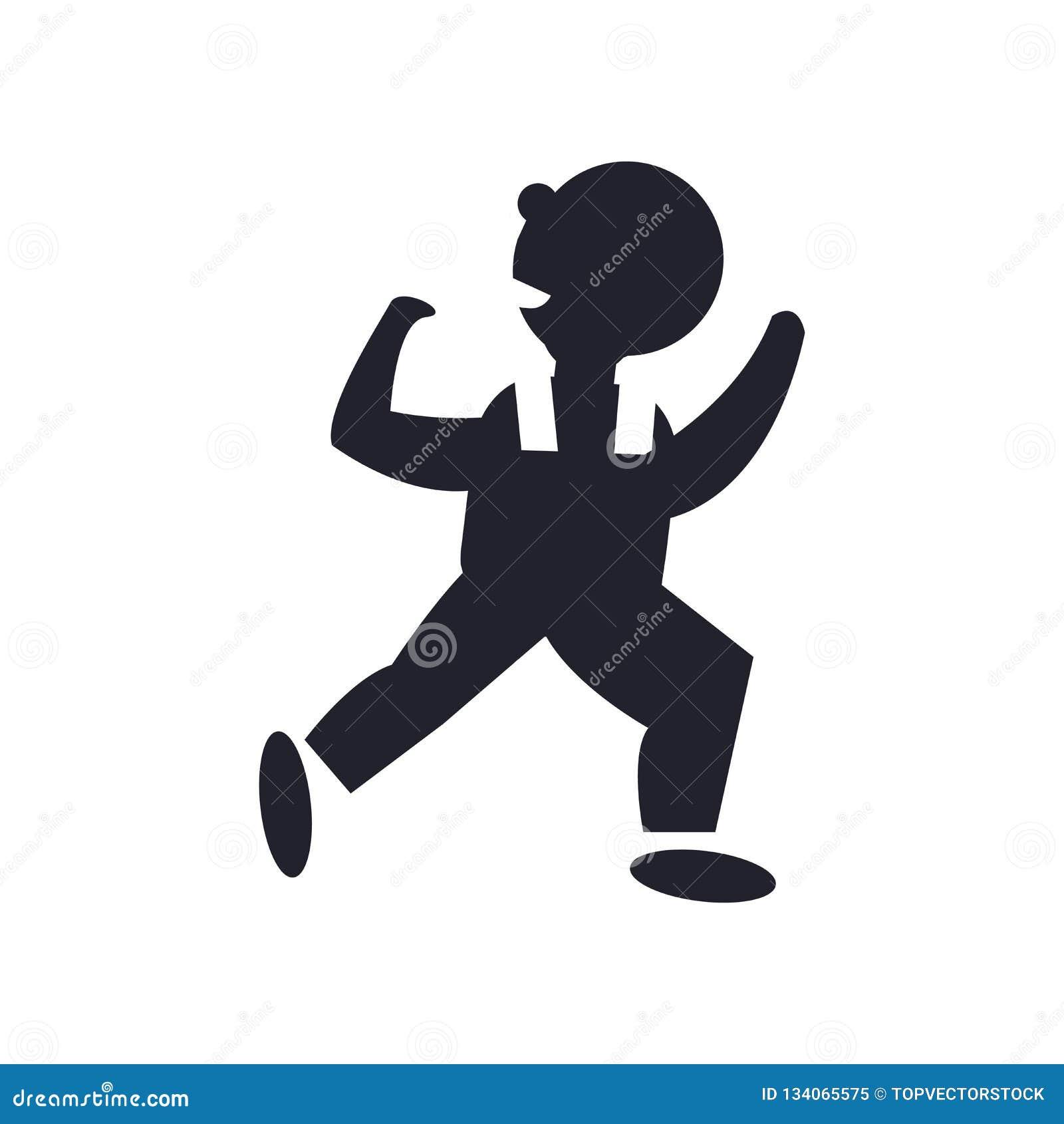 Tanzen-Mannikonenvektorzeichen und -symbol lokalisiert auf weißem Hintergrund, tanzendes Mannlogokonzept
