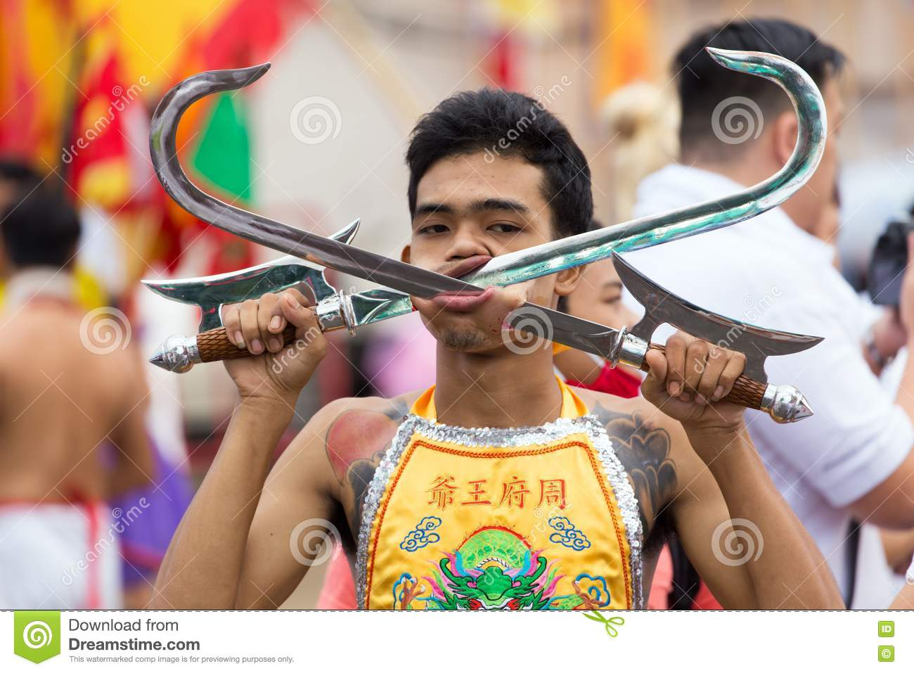 Taoist Devotee Extreme Piercing Editorial Stock Image - Image of ...
