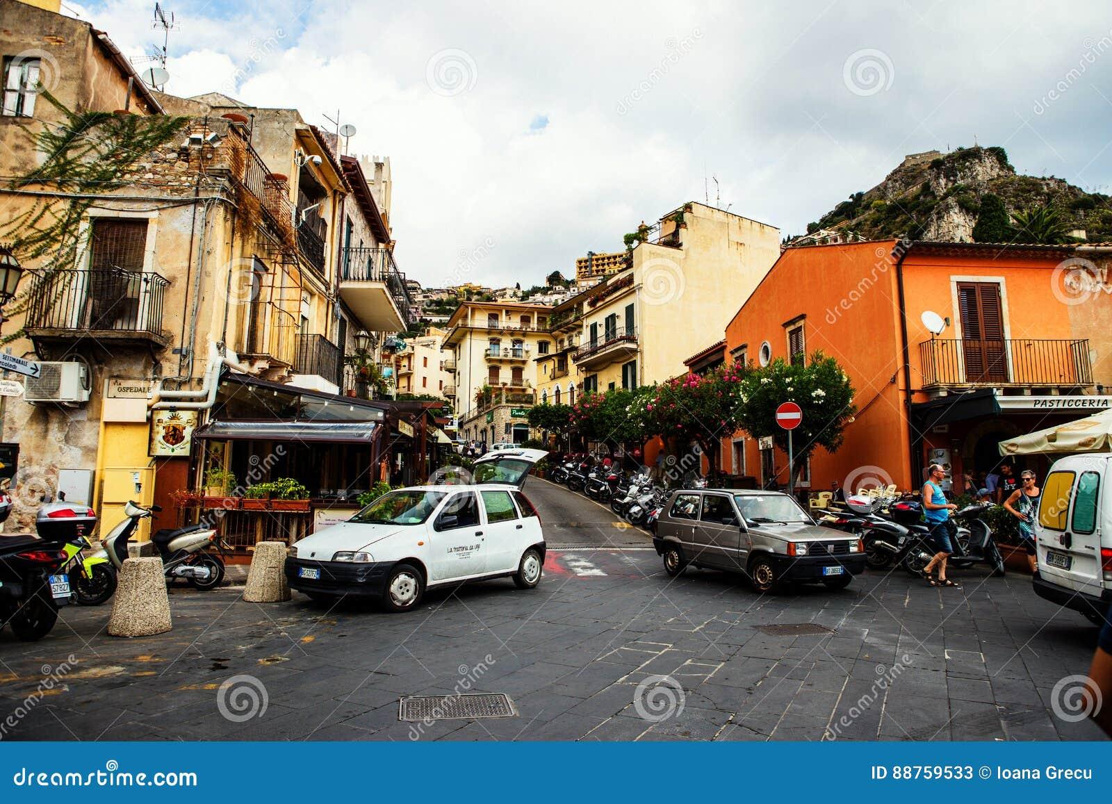 Taormina Entrance Street Bustling With Tourists Tourist