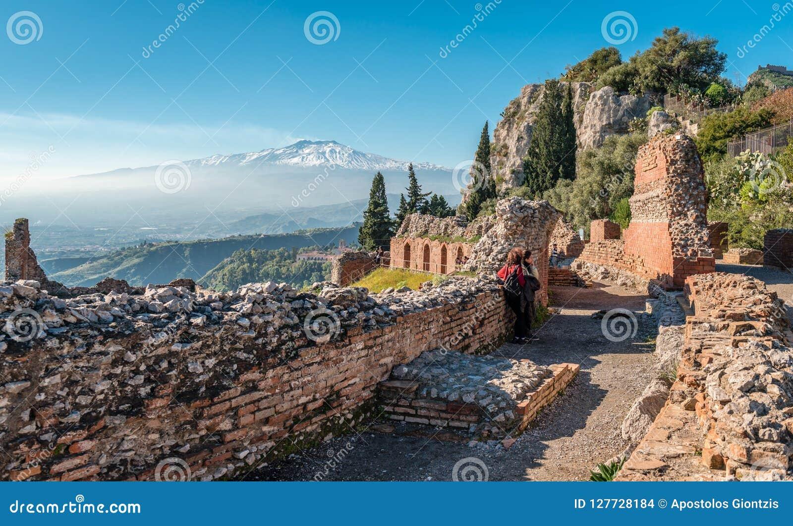 Mount Etna, from Teatro Greco, in Taormina.
