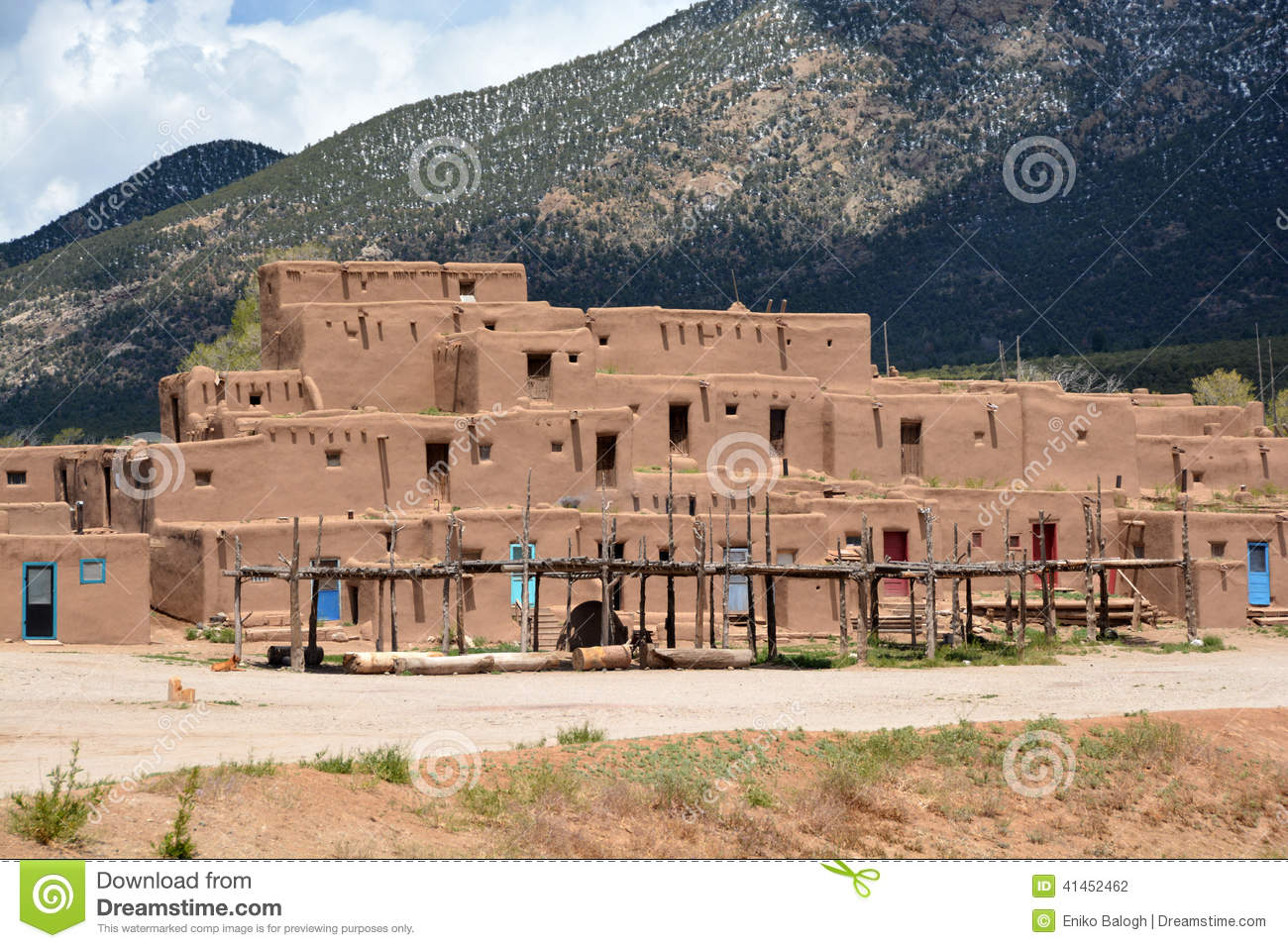 Taos pueblo in new mexico stock photo image of blue 41452462 - Pueblo adobe houses property ...