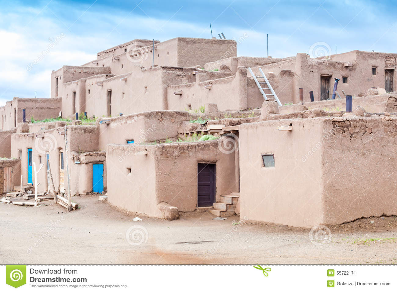 6ecd70c86702 Adobe settlement – consisting of dwellings and ceremonial buildings –  represents the culture of the Pueblo Indians of Arizona and New Mexico.