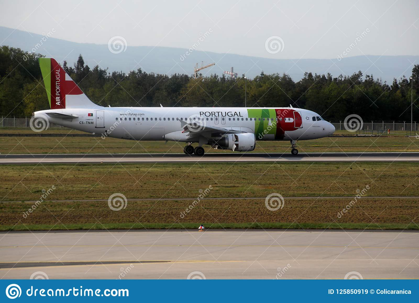 TAP Air Portugal plane on runway in Munich Airport, Germany, MUC
