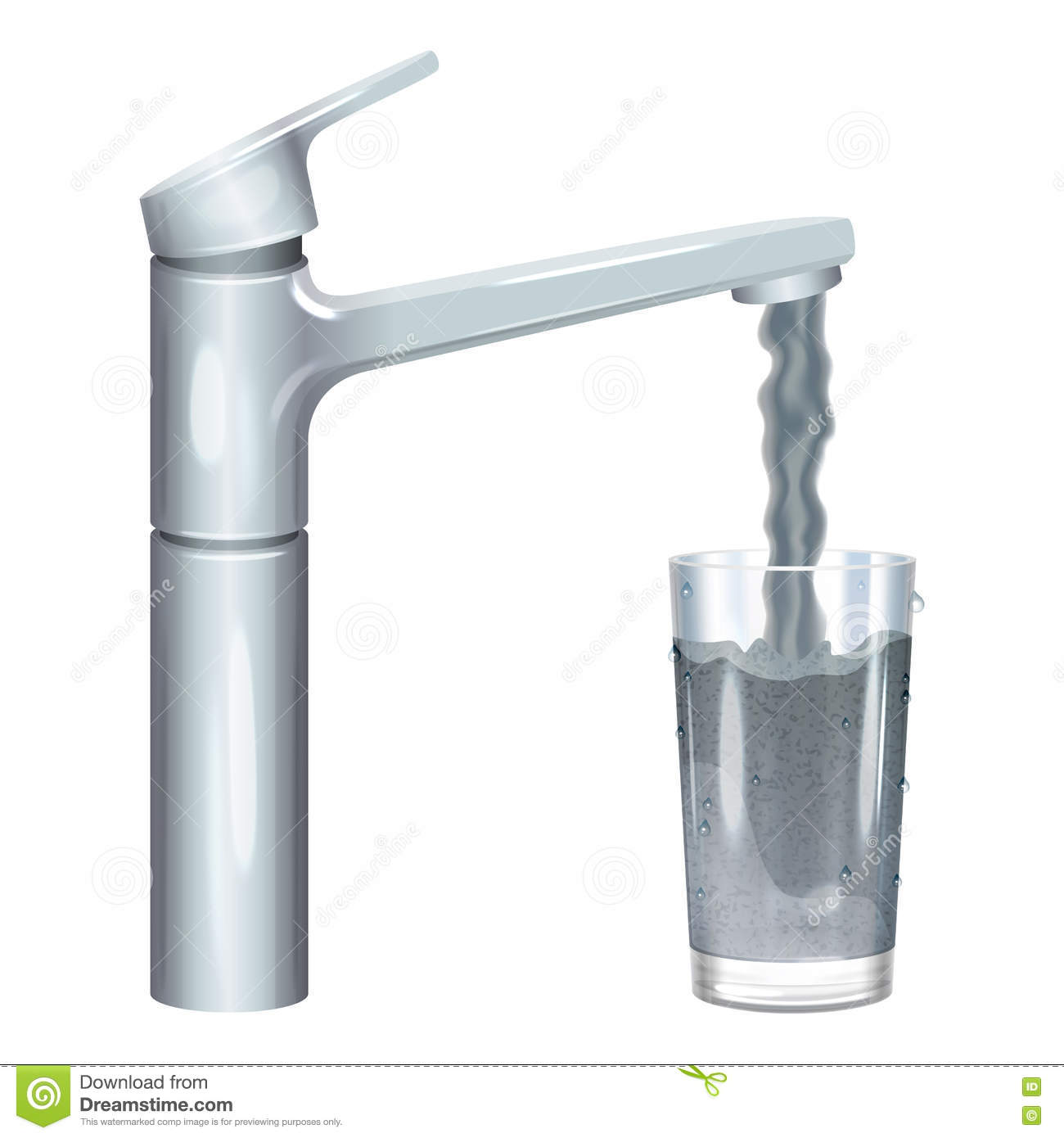 Tap with dirty water, muddy water in glass, pollution concept.