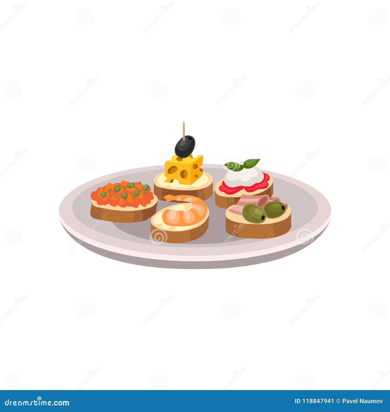 Tapas délicieux avec différents ingrédients Casse-croûte espagnols traditionnels de plat Vecteur plat pour faire de la publicité