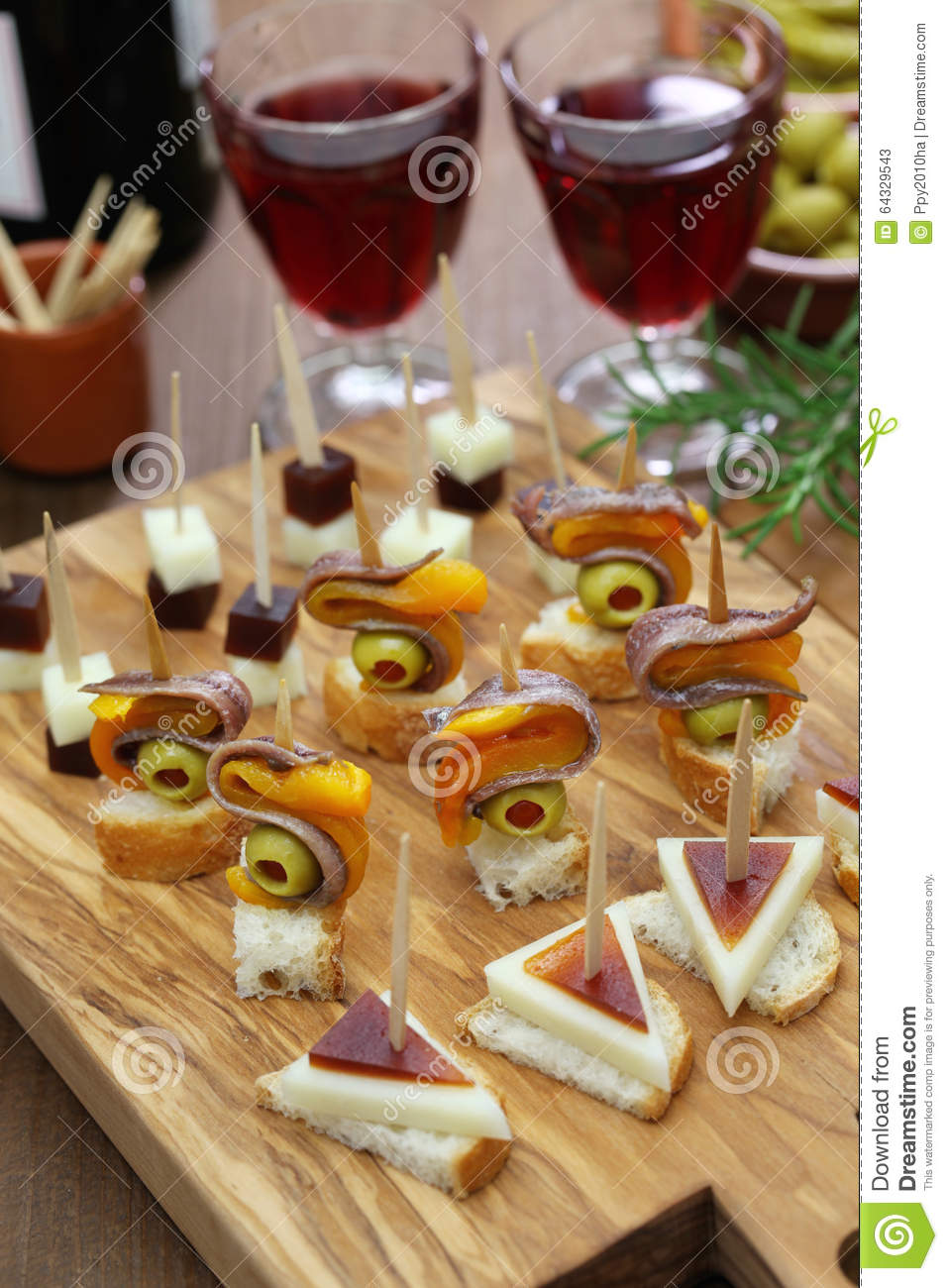 Tapas pinchos spanish canapes stock image image 64329543 for Canape party menu