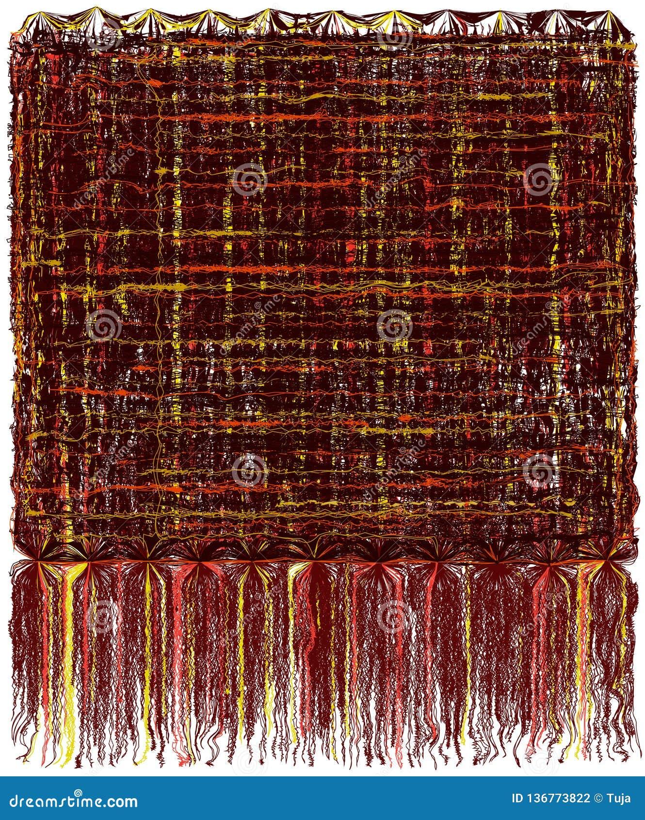 A tapeçaria decorativa com grunge listrou o teste padrão ondulado e a franja macia longa em cores marrons, amarelas, alaranjadas
