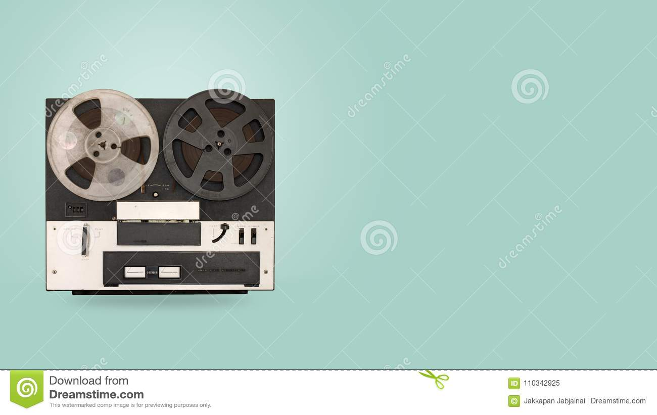 Tape cassette recorder and player with on color background.