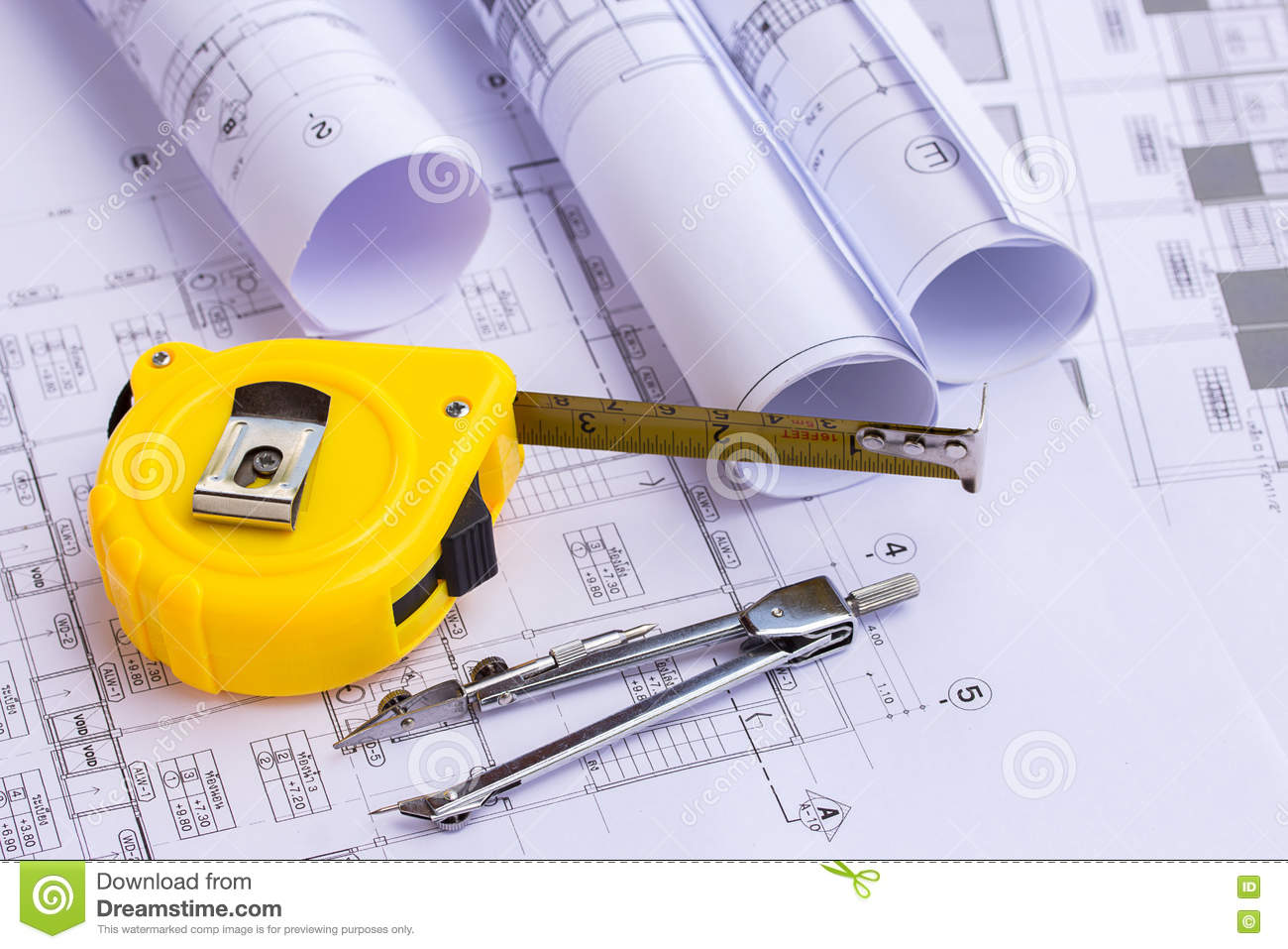 Tape Measure Over A Construction Plan Drawing Stock Image ...