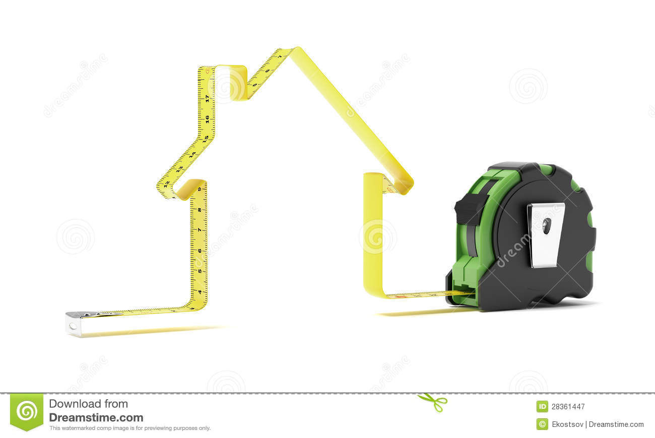 Tape Measure In The Shape Of A House Royalty Free Stock