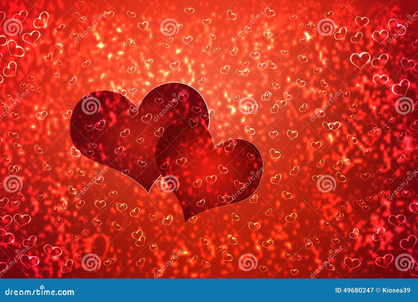 Tapet till valentin dag med röda hjärtor