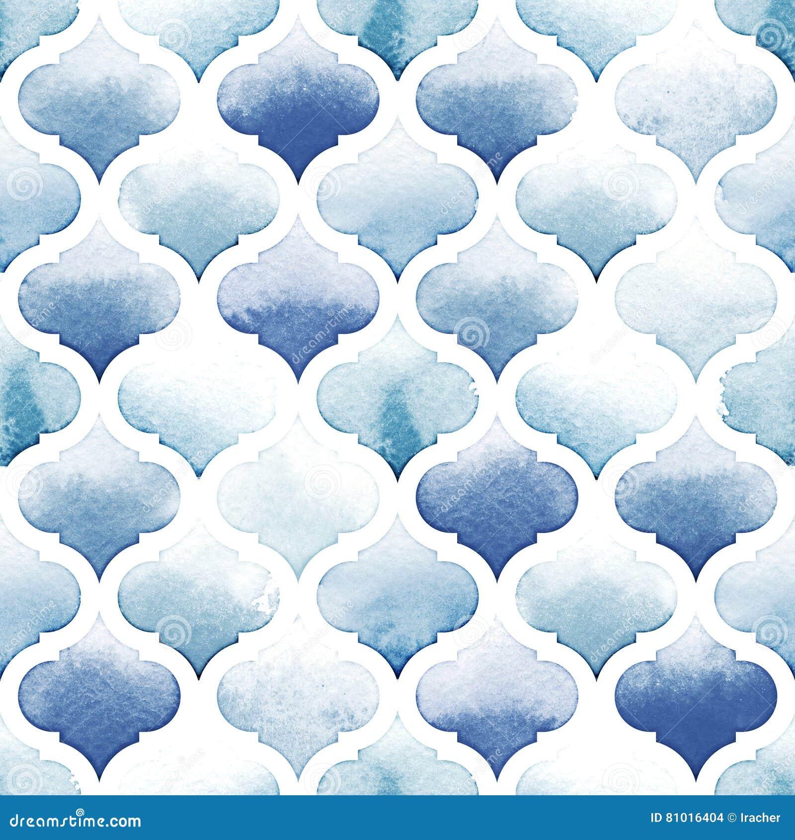 Tapete de Tânger de cores azuis no fundo branco Teste padrão sem emenda da aquarela Beira-rio e Airy Blue