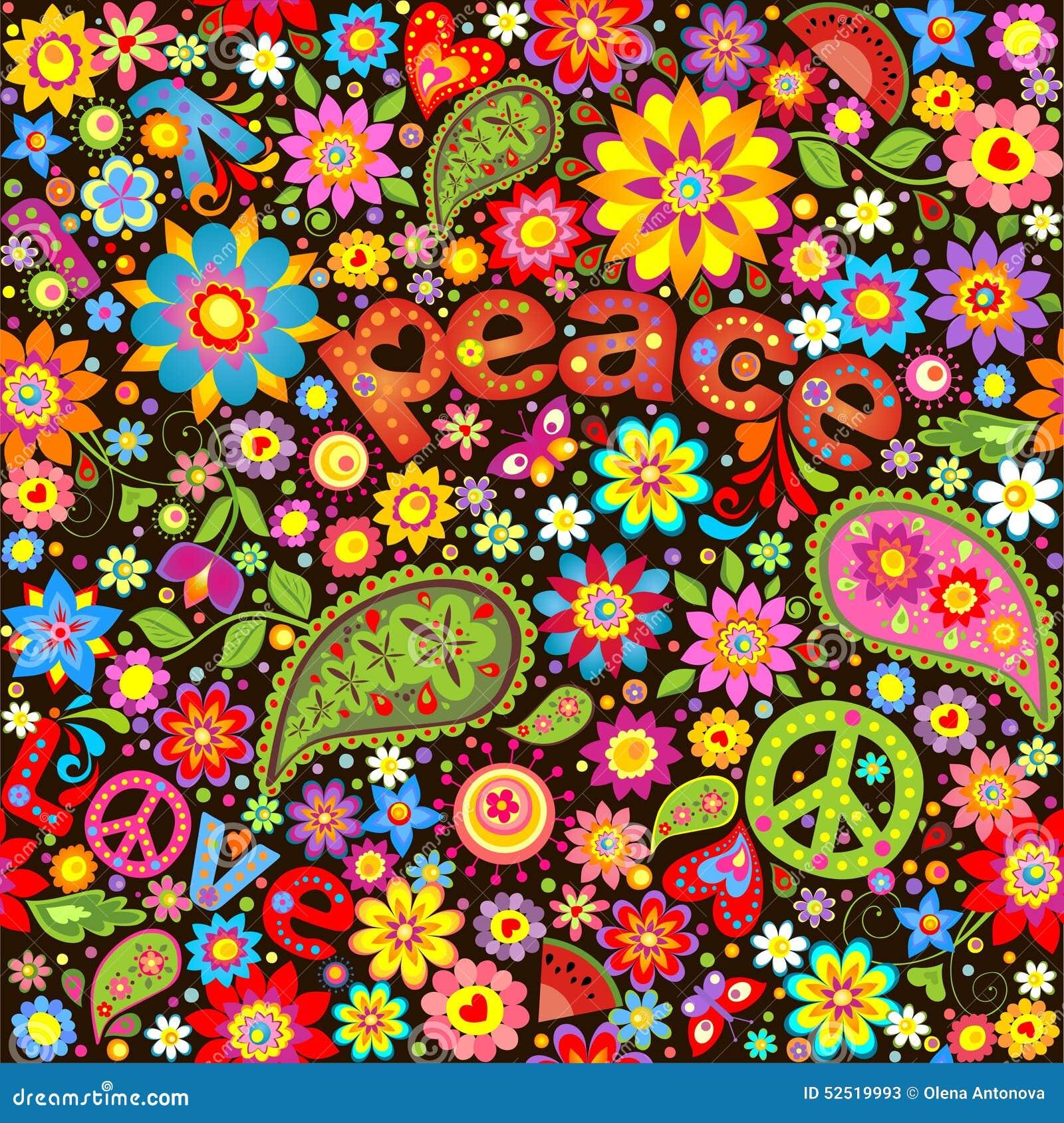 Tapete mit der hippie symbolisch vektor abbildung bild 52519993 - Hippie zimmer ...