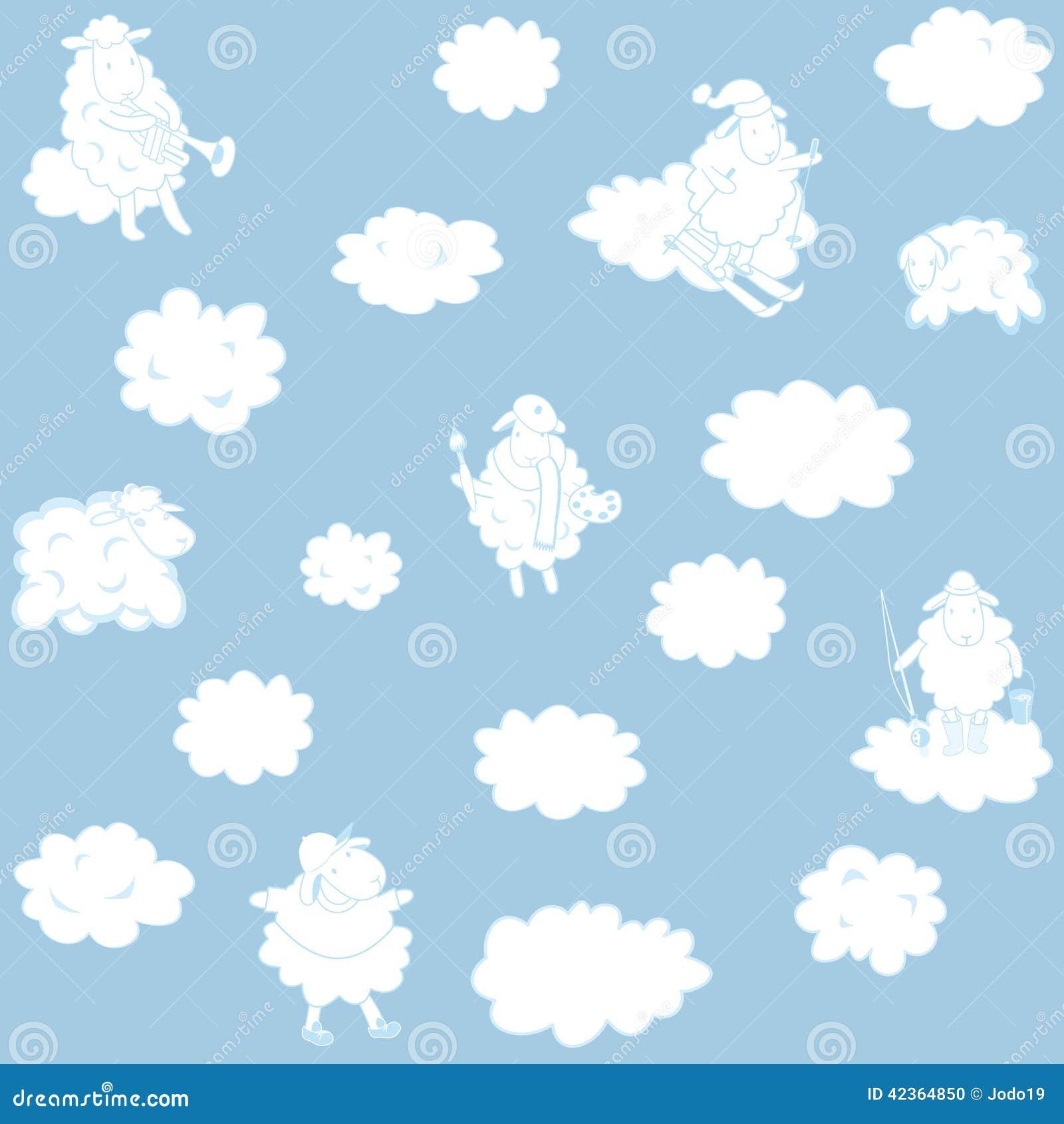 Tapete Mit Wolken Für Ein Kinderzimmer Vektor Abbildung ...
