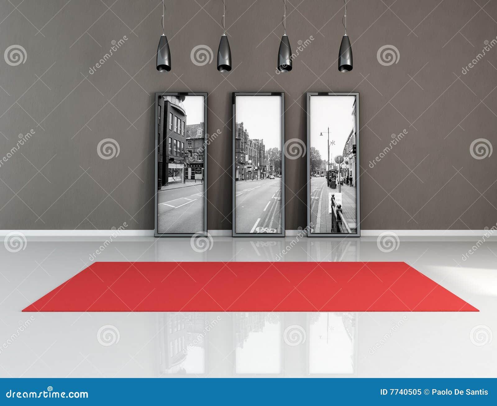 Tapete Vermelho Em Um Quarto Preto E Branco Ilustração ...