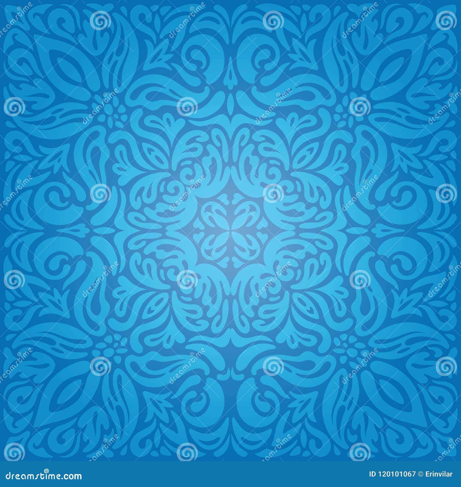 Tapeten-Hintergrunddesign Königs Blue Floral Vintage mit dekorativer Blumenmandala