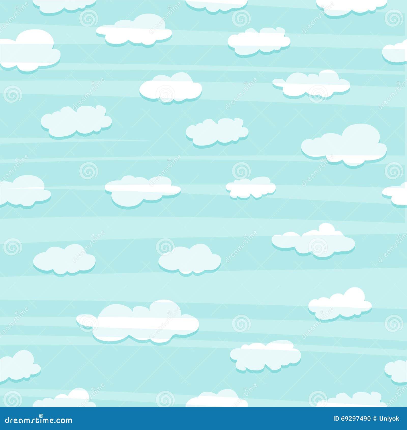 Tapezieren Sie mit einem einfachen Muster der Wolken Weiße Wolken im blauen Himmel Tapeten mit Wolken für ein Kinderzimmer