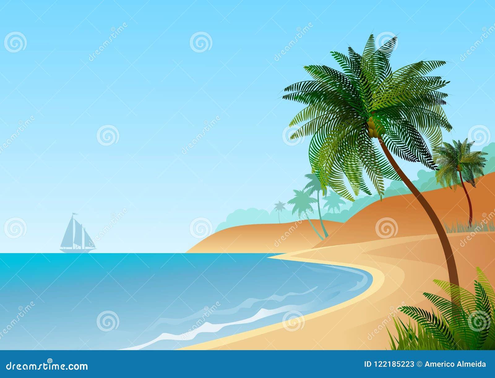 Tapezieren Sie mit Seelandschaft, mit Strand- und Palmen