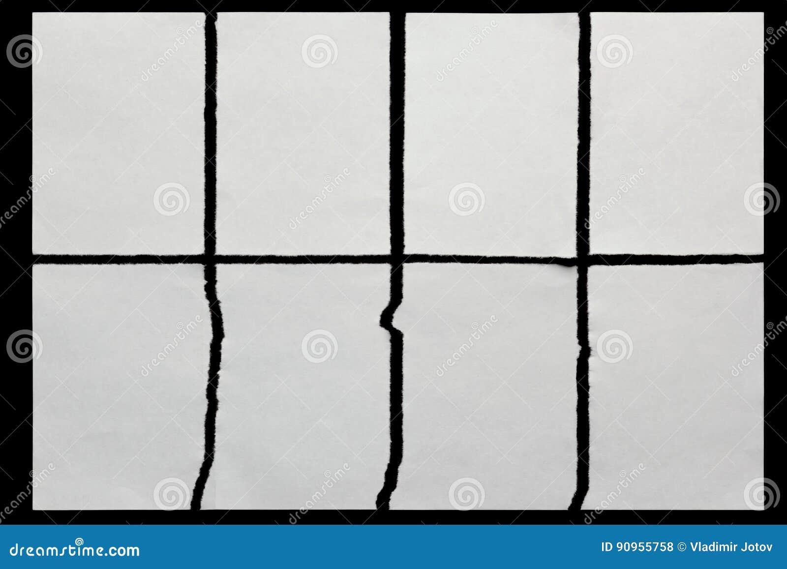 Tapezieren Sie zerrissen in acht Stücke auf einem Schwarzen