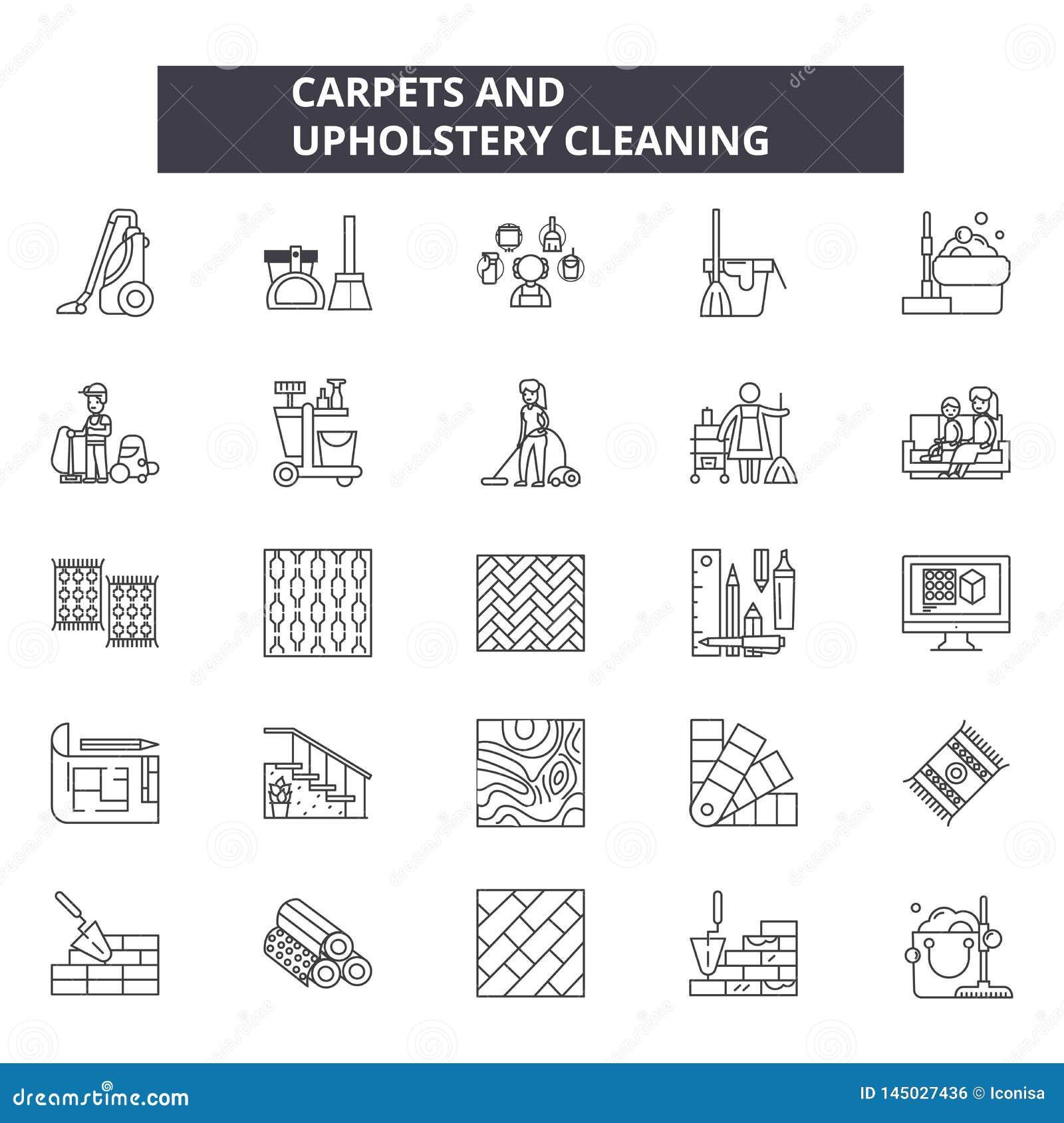Tapijten en pictogrammen van de stofferings de schoonmakende lijn, geplaatste tekens, vector Tapijten en stoffering het schoonmak