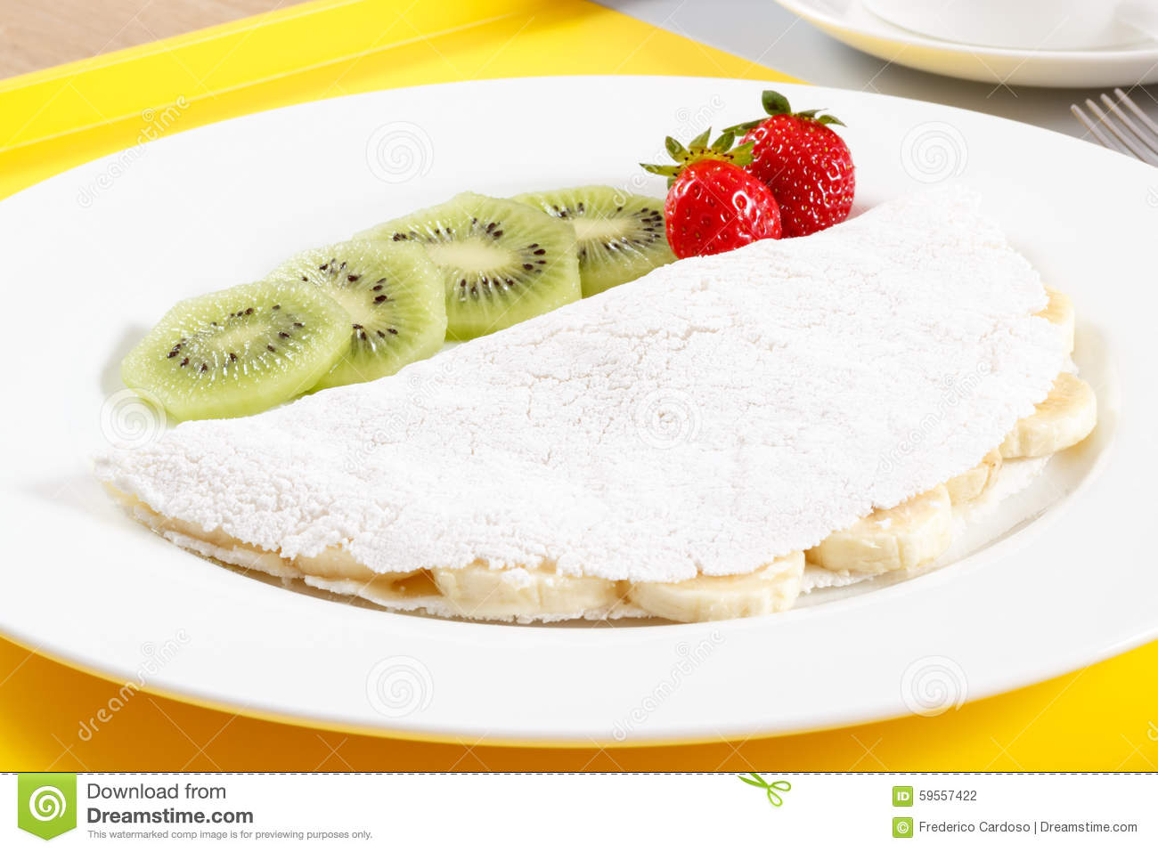 Tapioca with fruits stock photo image 59557422 for Authentic brazilian cuisine