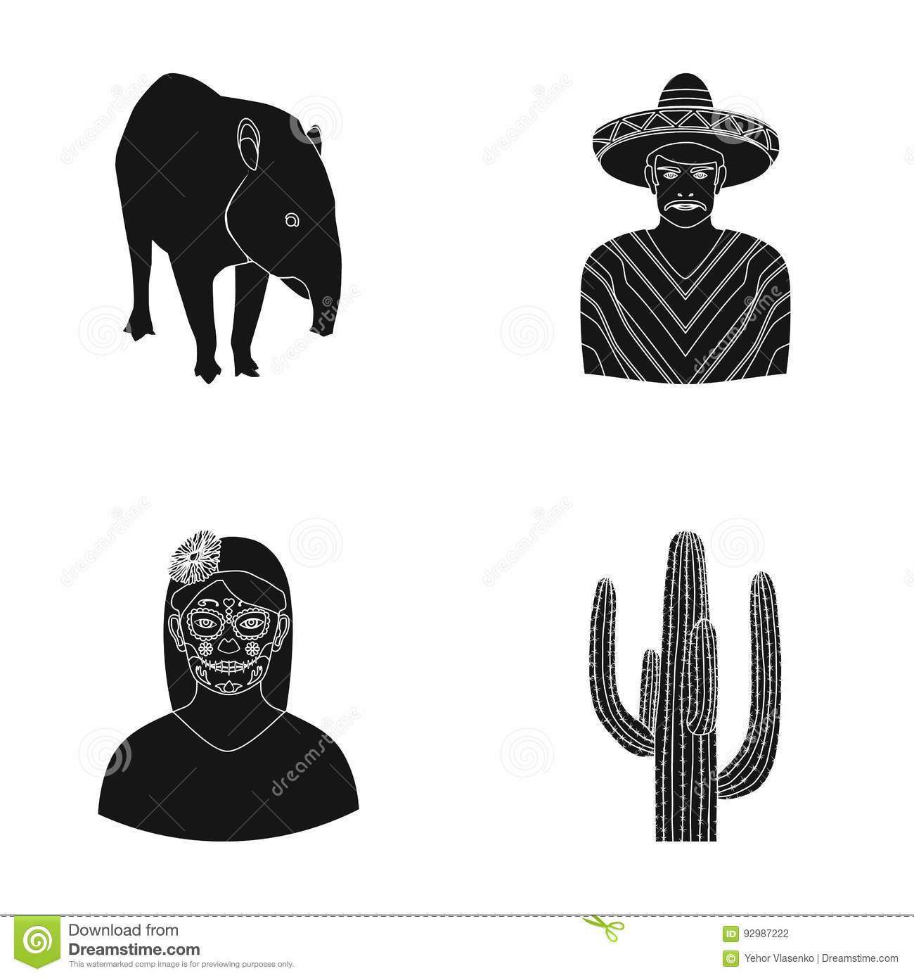 tapir mexican animal a mexican in national clothes in a poncho a