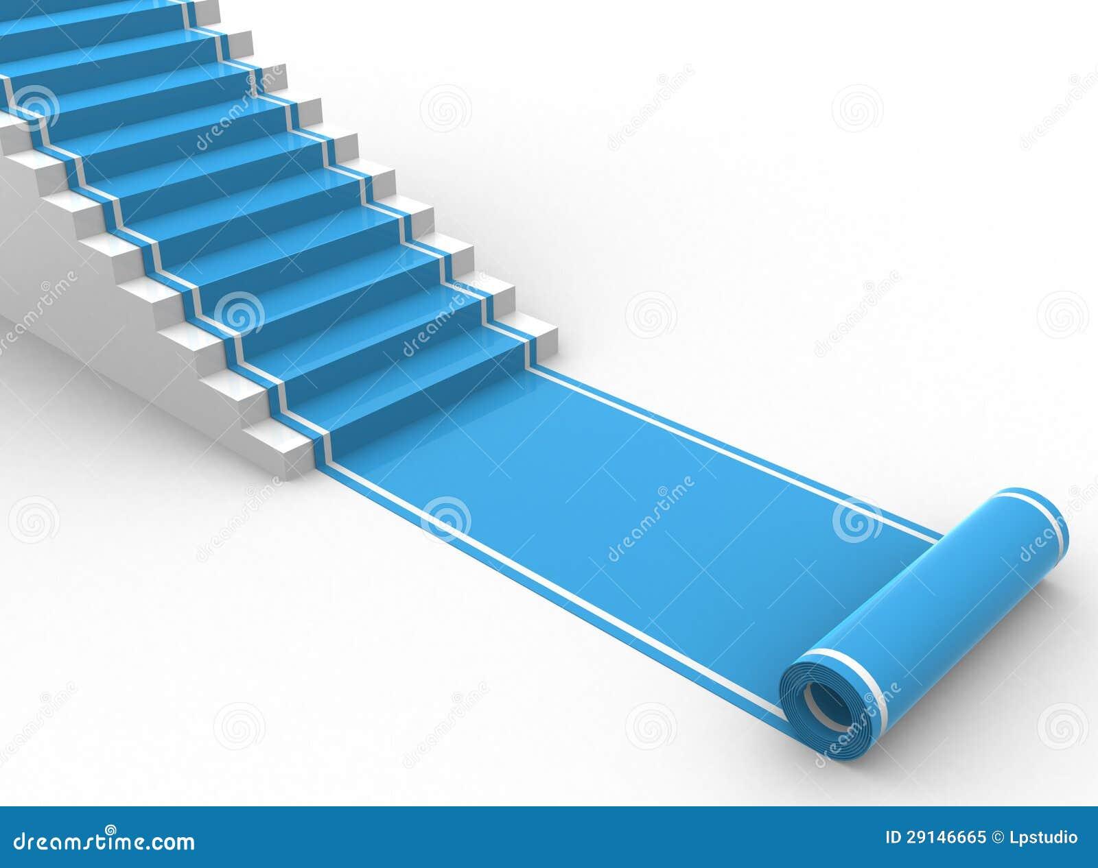 Tapis Bleu Unroling Avec Des Escaliers Illustration Stock
