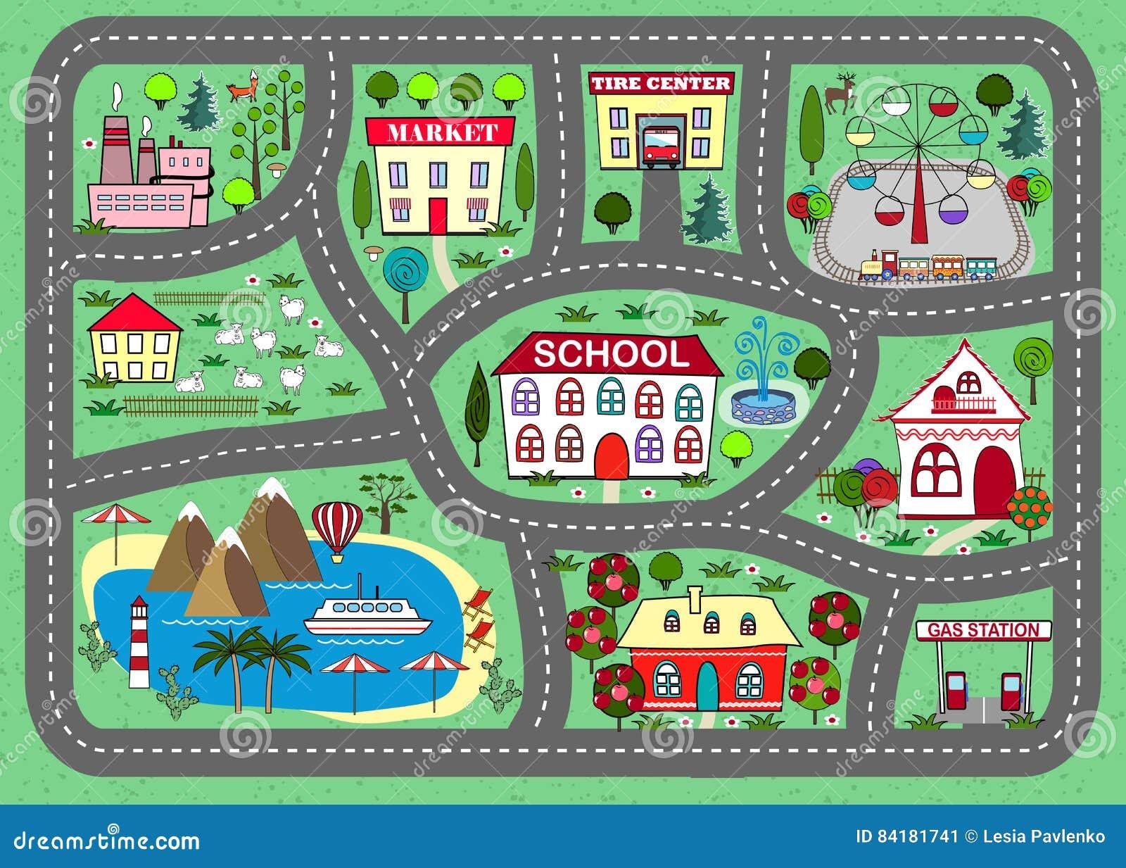 tapis de jeu de route pour des enfants activit et divertissement illustration de vecteur. Black Bedroom Furniture Sets. Home Design Ideas