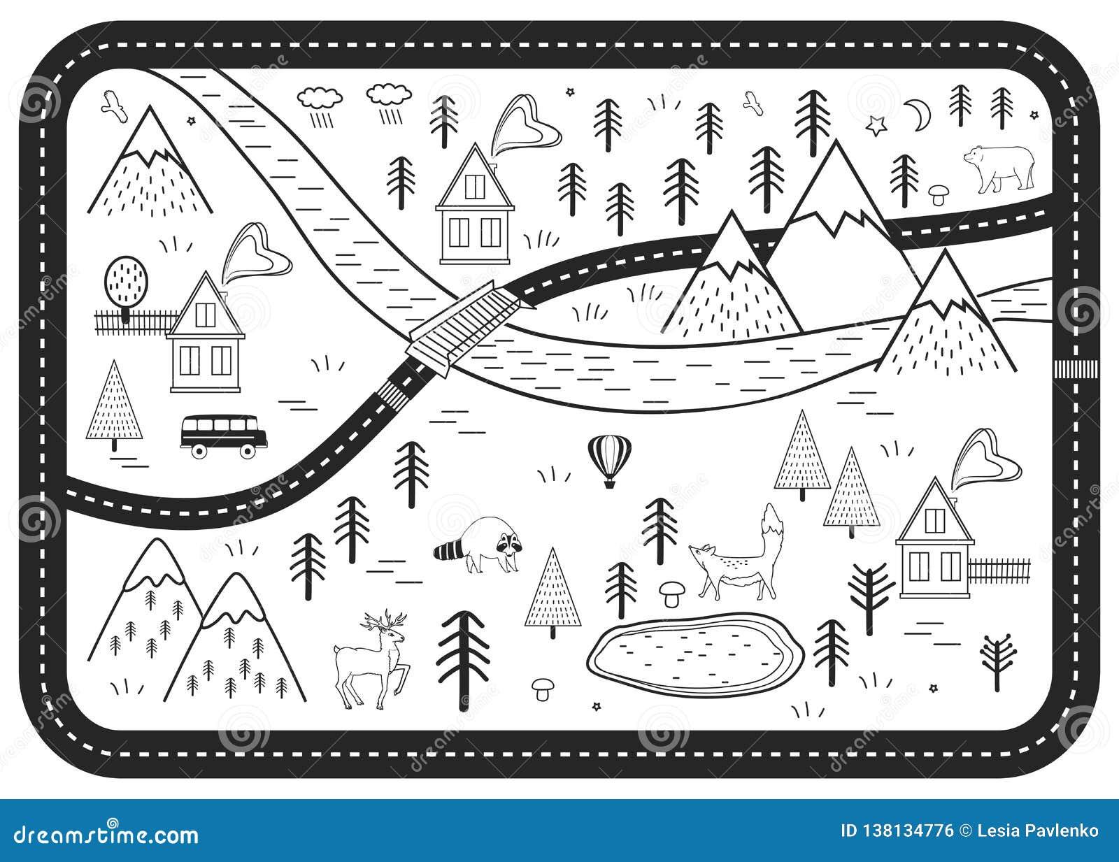 Tapis Noir Et Blanc De Jeu De Route D\'enfants La Rivière, Les ...