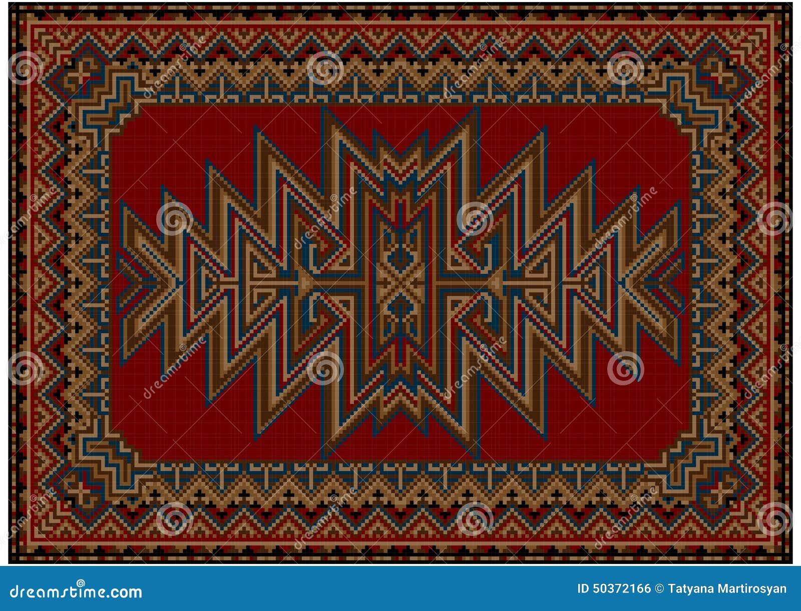 tapis oriental lumineux avec le mod le original sur un fond rouge illustration stock image. Black Bedroom Furniture Sets. Home Design Ideas