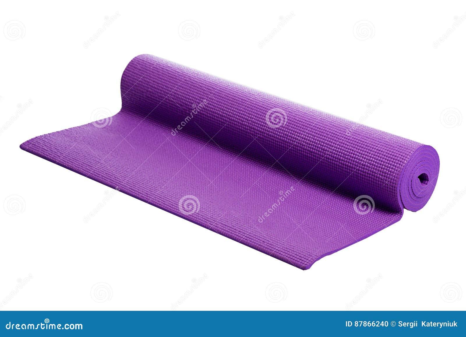 Tapis Violet De Yoga Sur Un Fond Blanc