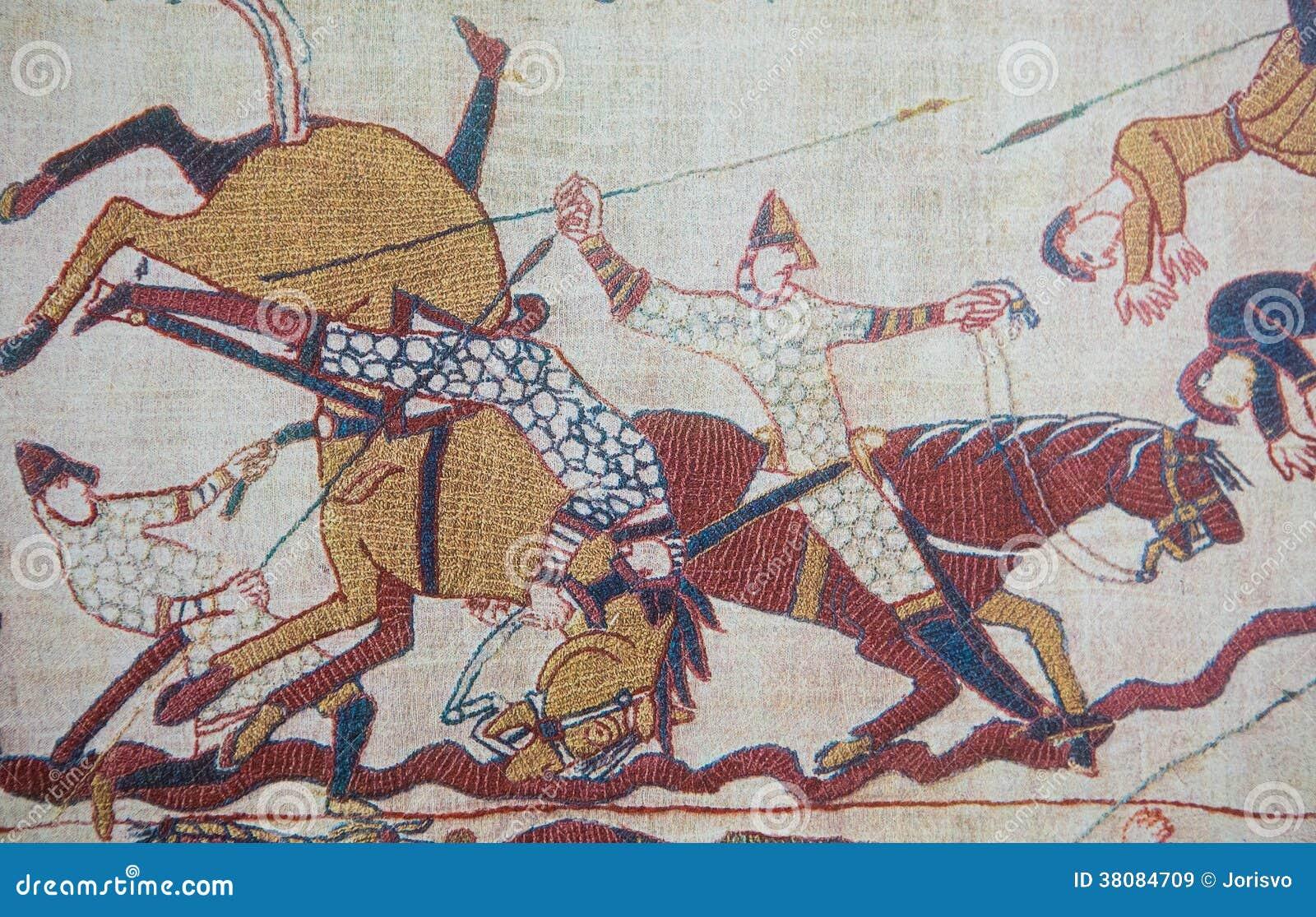Tapisserie de bayeux image stock image du bayeux chevalier 38084709 - Tapisserie de bayeux animee ...