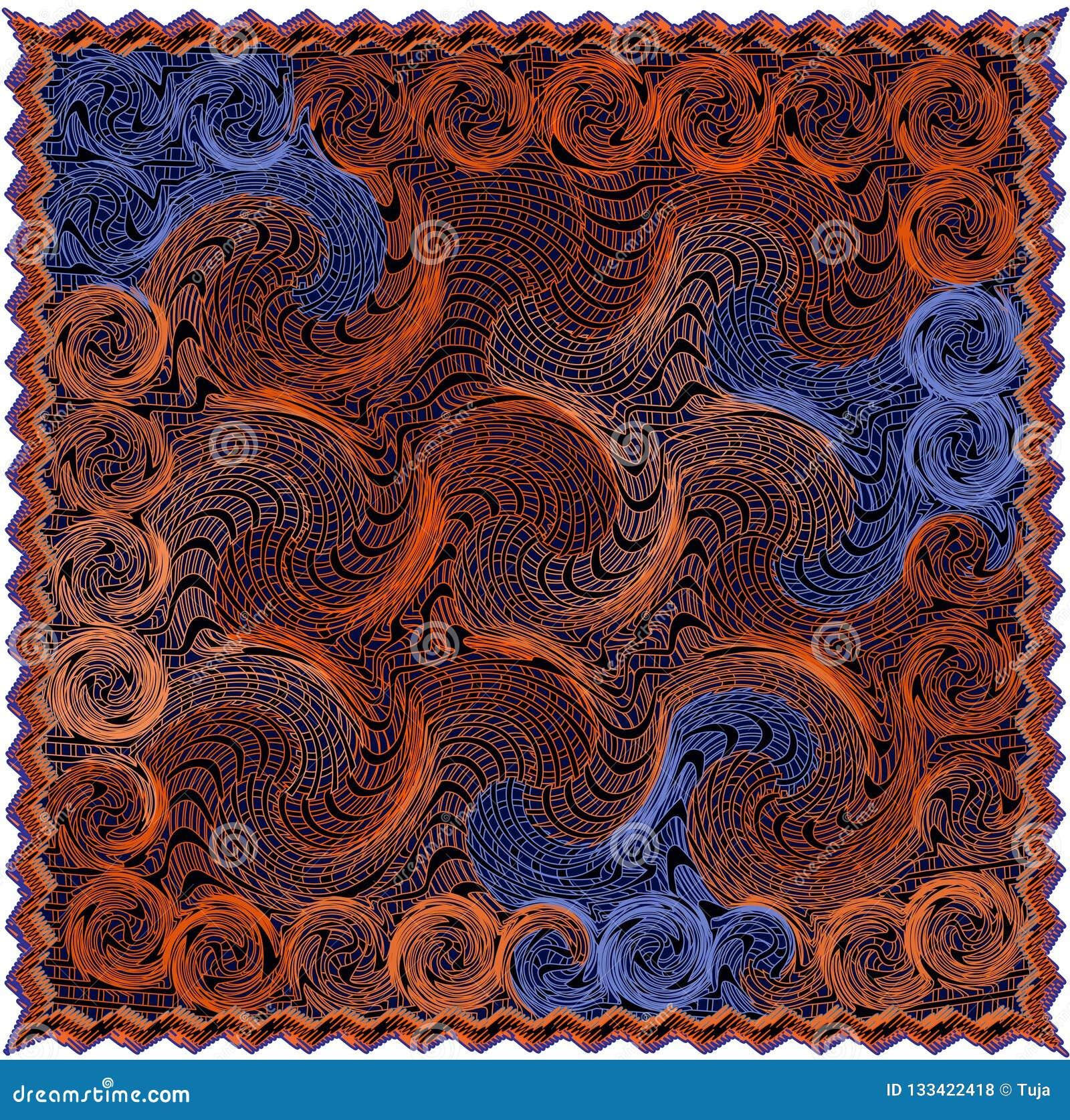 Tapisserie mit gestreiftem und gewirbeltem Muster des Schmutzes in der Orange, braune, blaue Farben mit Franse