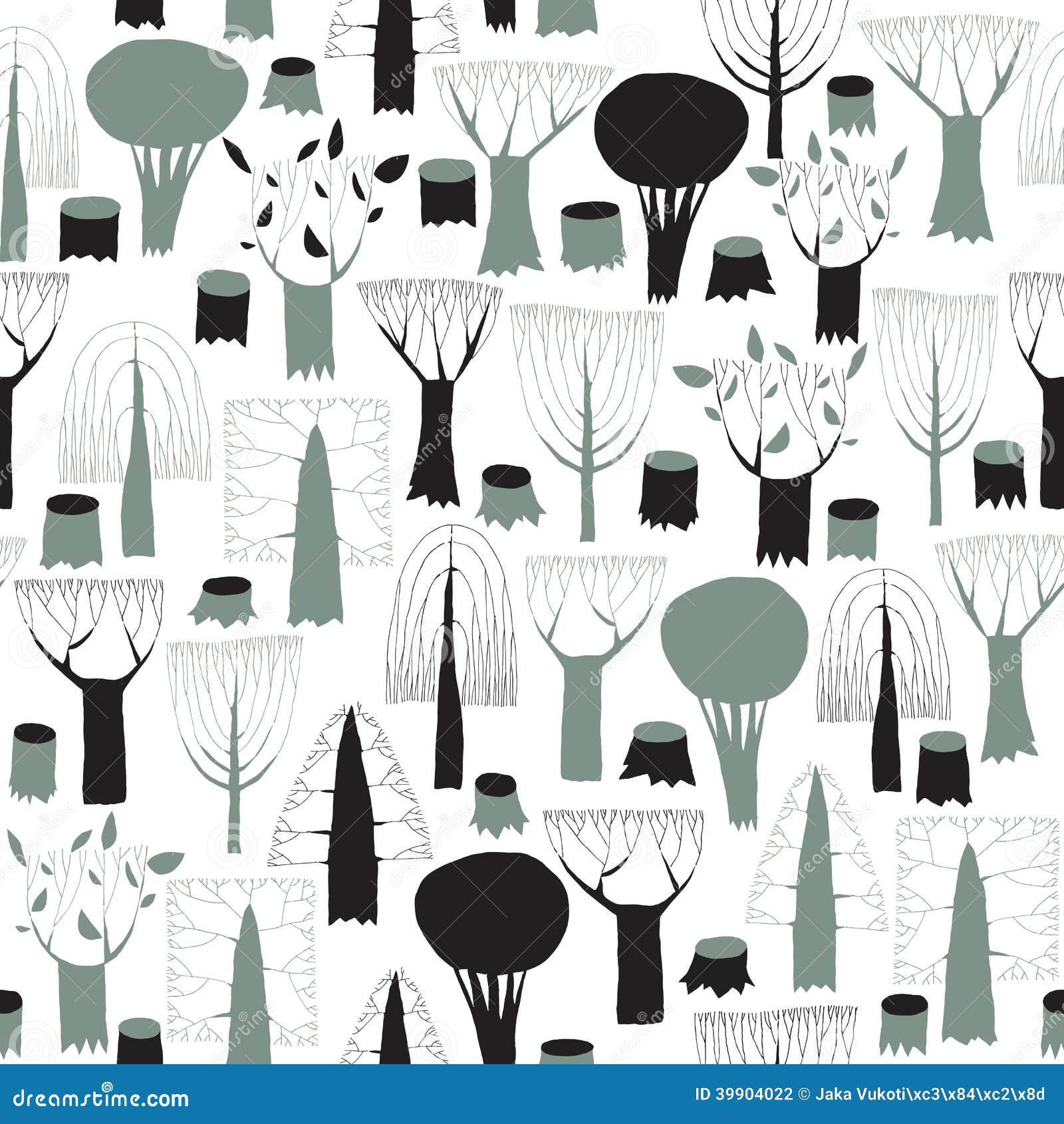 Tapisserie sans couture de modèle d arbres dans le gris