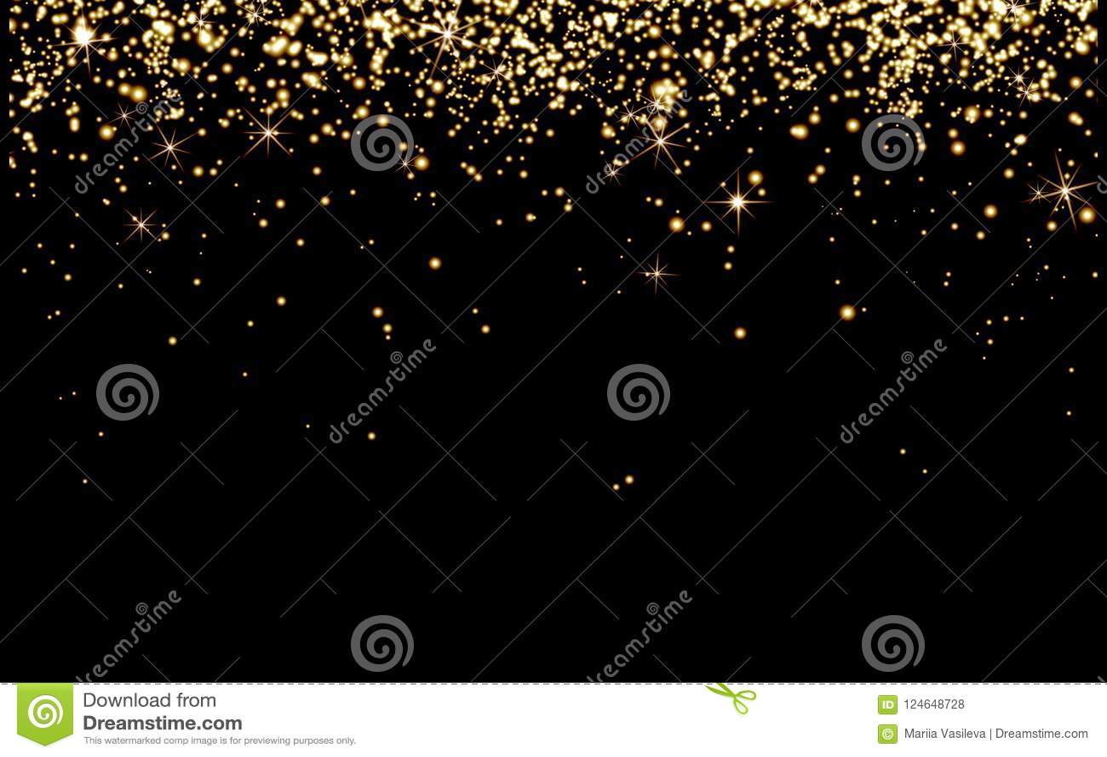 Tappa guld- champagnegnistor, ljusa gula partiklar skiner på bla