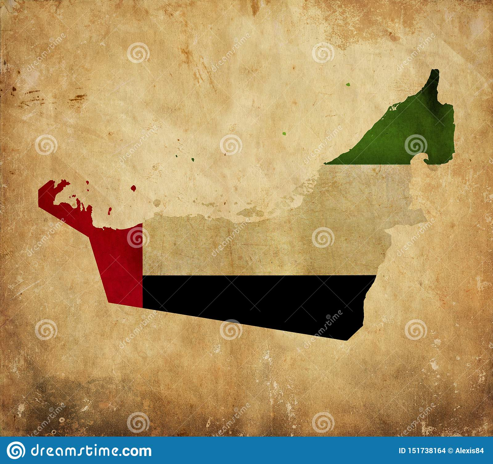 Tappningöversikt av Förenade Arabemiraten på grungepapper