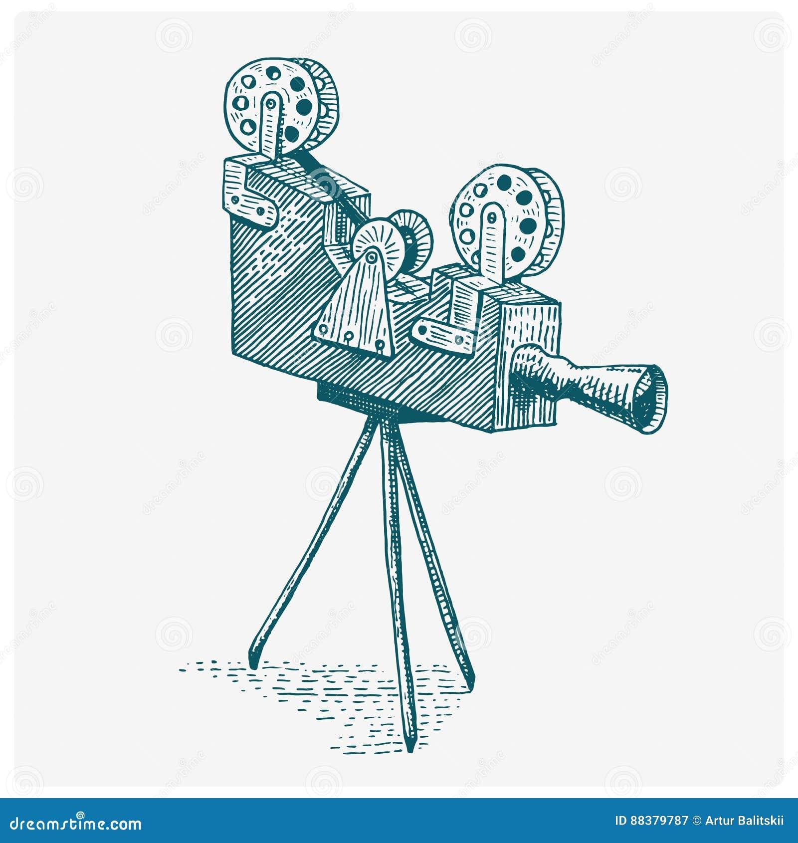 Tappning för fotofilm- eller filmkameran som inristas, handen som in dras, skissar eller träsnittstil, den gamla seende retro lin
