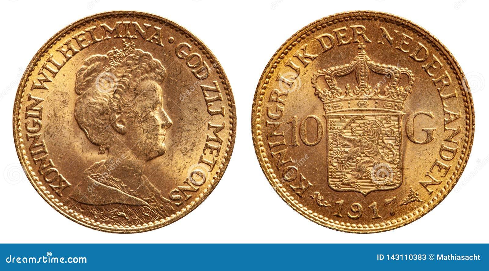 Tappning 1917 för guld- mynt för gulden för Nederländerna 10