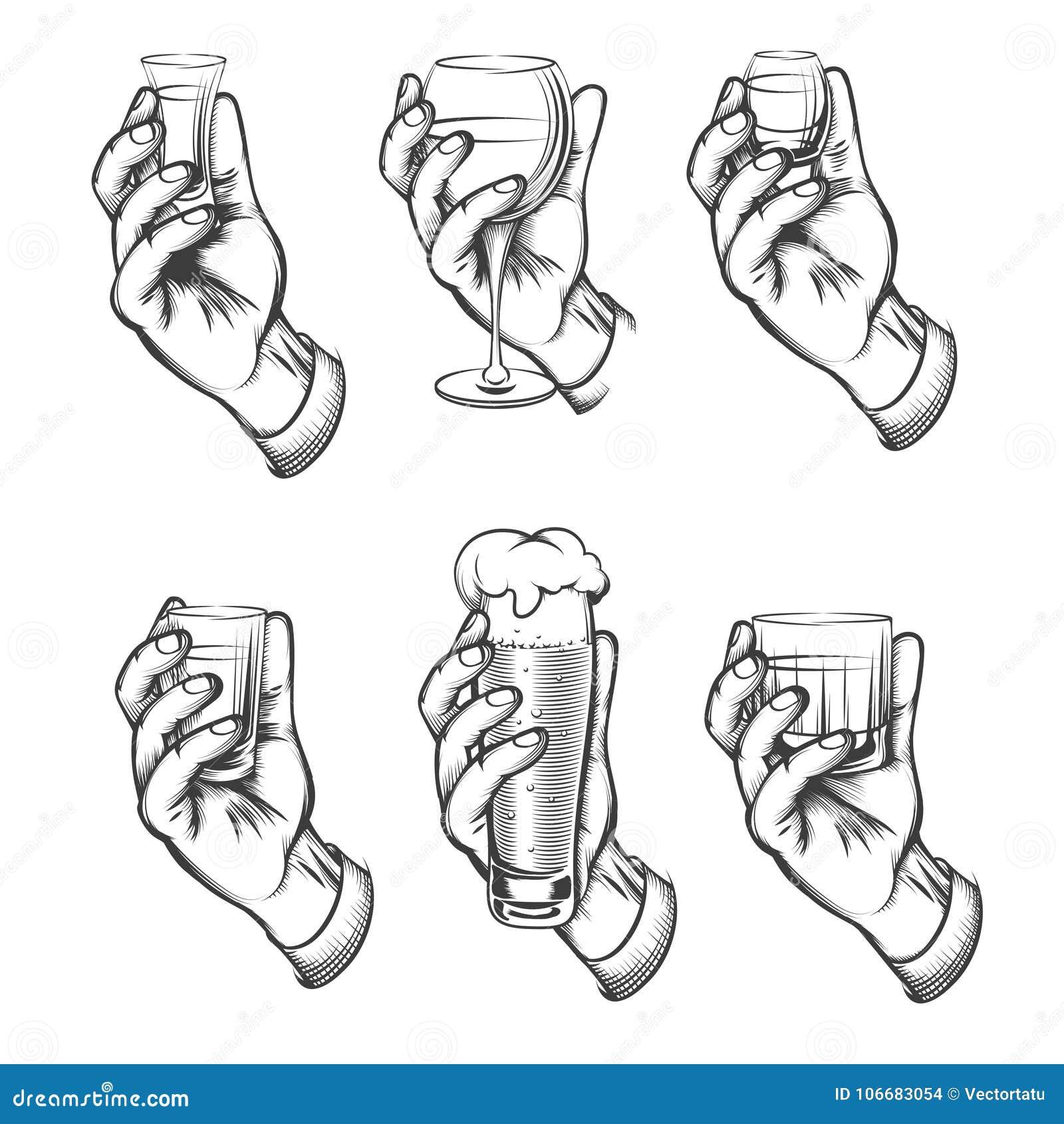 Tappning för handinnehavdrinken skissar symboler