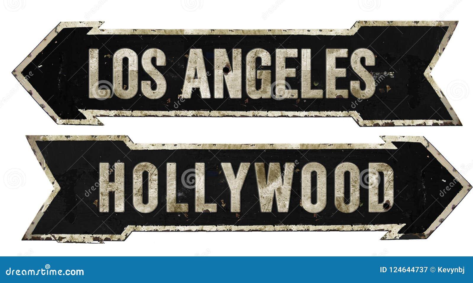 Tappning för metall för pil för Grunge för Los Angeles Hollywood gatatecken Retro
