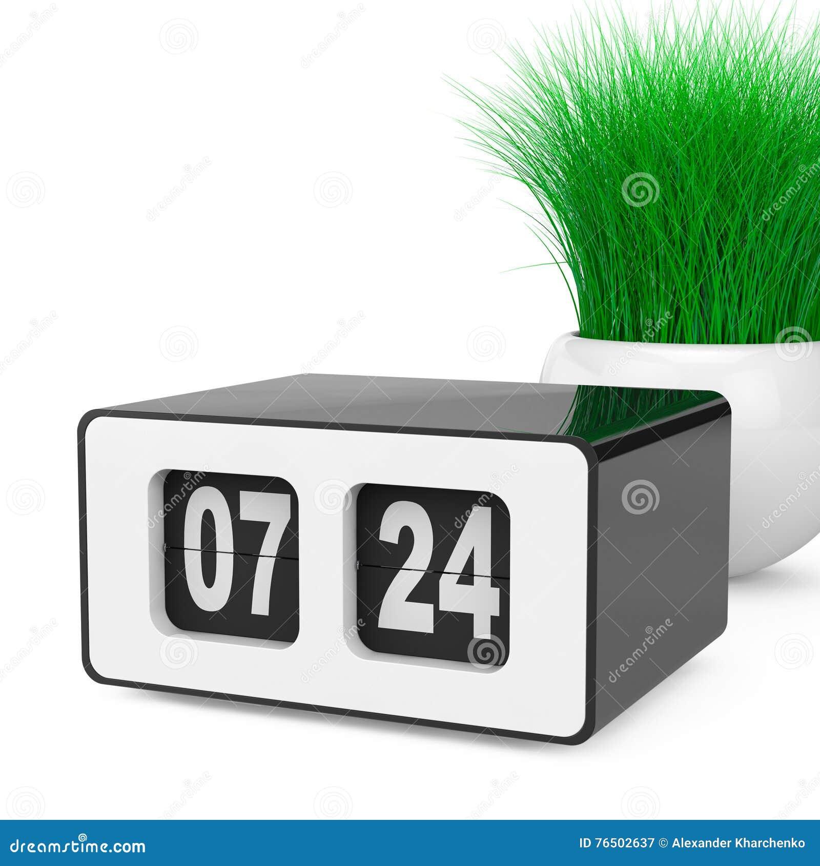 Tappning Flip Clock med gräs i den vita keramikplanteren 3d sliter
