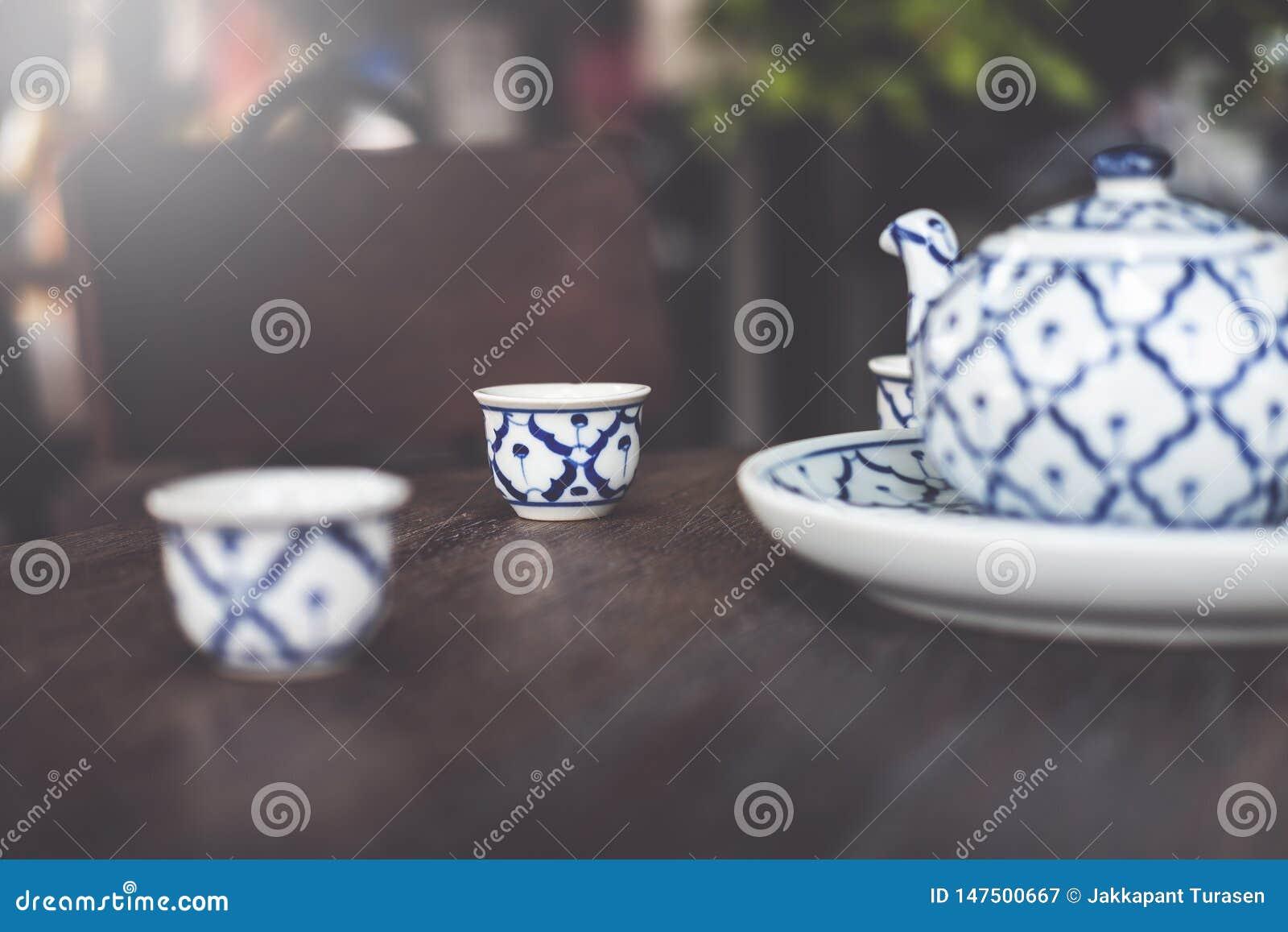 Tappning keramiska Kina, kinesiskt porslin, teservis